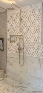 Bathroom - Marble mosaic tiled shower
