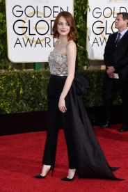 BEVERLY HILLS, CA - JANUARY 11:  Actress Emma Stone attends the 72nd Annual Golden Globe Awards at The Beverly Hilton Hotel on January 11, 2015 in Beverly Hills, California.  (Photo by Frazer Harrison/Getty Images)