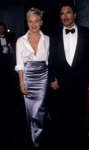 Sharon Stone - hubby's Gap shirt and Vera Wang skirt - 1998