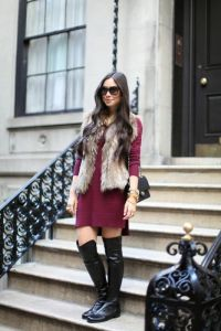 faux-fur-vest-and-dress-533x800