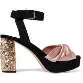 Miu Miu cyrstal-embellished satin and suede platforms